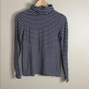 J crew black and white stripe turtleneck T-shirt